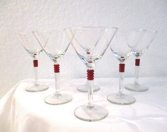 Red Banded Martini Glasses, S/6
