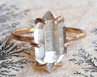 Large Herkimer Diamond Engagement Ring - Quartz Crystal - Large Stone Ring - Raw Crystal Ring - Rough Stone Ring - Boho Engagement Ring