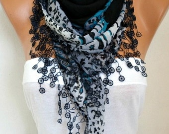 Mother's day gift,Black Cotton Triangle Scarf  Spring Summer Scarf,bohemian, Necklace Cowl Gift Ideas For Her Women Fashion Accessories