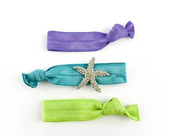 Summer Starfish Hair Tie Set - 3 Rhinestone and Elastic Hair Ties that Double as Bracelets