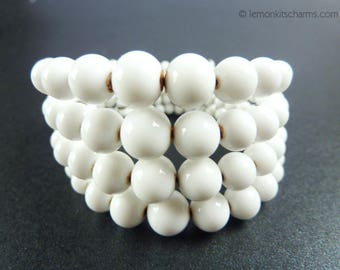 Vintage White Milk Glass Beaded Wire Bracelet, Jewelry 1950s Mid-century, Memory Wire, Expandable, Cuff