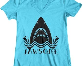 Women's Jawsome Jaws Shark Week Junior Fit V-Neck T-Shirt