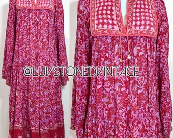 70s India Bazaar Cotton Gauze Boho Hippie Caftan Gypsy Kaftan Ethnic Festival Maxi Midi Tent Dress . D248 . SM . 1285.100617