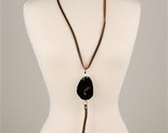 Agate Stone Pendant Leather Cord Necklace
