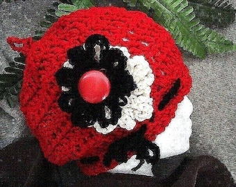 Crochet hat pattern, num. 3- Beginners, red slouchie beret, adult size, OK to sell your hats, instant download