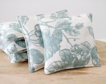 Botanical Lavender Sachet, Aqua and White Garden Floral Drawer Sachet, Gift For Her