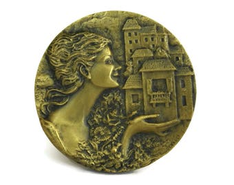 Bronze Medal with Lady Portrait. French Maisons Fleuries Vintage Flower Competition Award. Gift for Gardener. Harot and Guerault.
