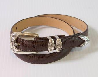 Vintage Brown Brighton Narrow Leather Belt size medium