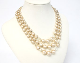 Multi-Strand Faux Pearl and Crystal Necklace - Vintage Bridal,
