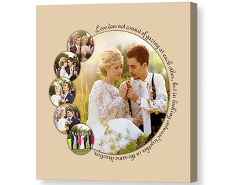 Custom Round Wedding Photo Collage With Text - 16x16 Giclée Print on Canvas Using 6 of Your Favorite Photos - Custom Gift - Made in USA