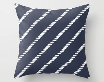 Nautical Rope Pillow Cover, nautical rope decor, sailing pillow, nautical pillow, navy pillow, blue pillow, beach pillow, choose color