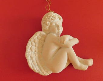 Terra Cotta Angel ornament / Cherub ornament vintage ceramic Terra Cotta figurine Angel Ornament Cherub Angel figurine Hanging Angel