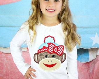 Sock Monkey shirt and bow- Sock monkey shirt- Girl sock monkey- Birthday girl- Monkey shirt- Sibling monkey shirt- Monogram shirt- Custom