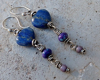 Blue Lapis Heart & Tail Earrings.Purple Turquoise + Glass Beads.Silver Wired . Rustic Southwest Boho Tribal Style Jewelry
