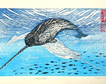 Narwhals, coloured woodblock print