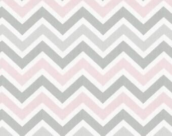 Pink and Gray Chevron Fabric - By The Yard - Pink / Gray / Chevron / Zig Zag / Girl