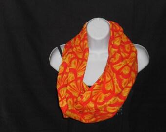 Orange With Yellow Paisley Infinity Scarf
