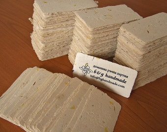 Custom handmade paper business cards: blanks + silk screen print optional
