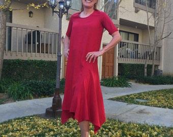 Asymmetric Hem Dress/Dramatic Shift Dress/Stylish Dress/Chic Dress