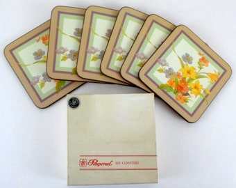 Vintage PIMPERNEL Set of 6 Satin Acrylic Cork Backed Floral Flowers Coasters in Original Box