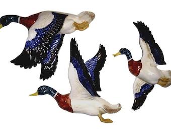 Set 3 Large Flying Mallard Ducks