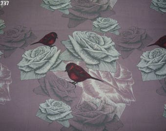 Fabric C737 birds and roses coupon 49x50cm grey/pink