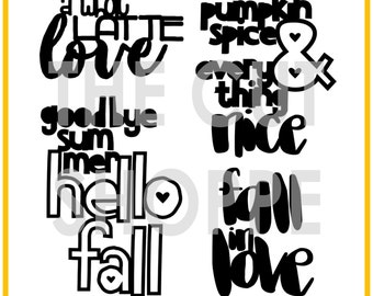 The Hello Fall cut file set includes 4 fall themed phrases that can be used for your scrapbooking and papercrafting projects.