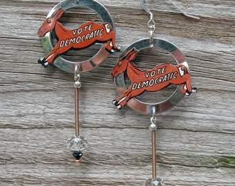 Vintage Upcycled Tin Donkey Vote Democratic Democrat Earrings with free domestic shipping!
