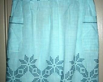 vintage linen ... classic XSTITCHED Turquiose vintage APRON KITSCH ...