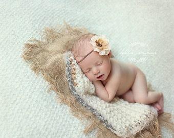 Burlap Blanket  Layering Photography Prop  Newborn Baby Photo Prop Mini Burlap Blanket