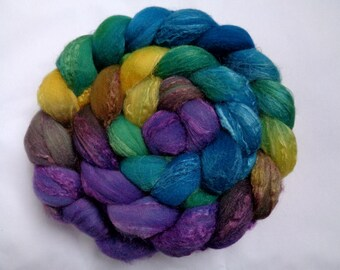 Merino silk roving, handpainted spinning fiber, wool roving, felting wool, roving, hand dyed roving, wool silk roving, teal, purple, 3.5oz