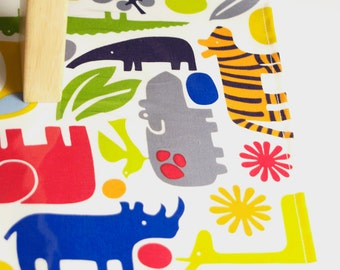 Laminated Cotton Oilcloth splat mat SELECT THE SIZE 2-d Zoo jungle animals in bright rainbow colors by Alexander Henry