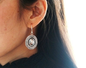 """Unique round silver earrings handmade with layers embossed with different patterns - """"The Ancient Shield """""""
