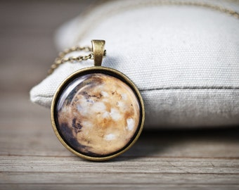 Mars Necklace, Planet Necklace, Mars jewelry, Space necklace, Solar system jewelry, Mars planet pendant, Space jewelry, Galaxy necklace