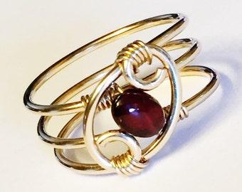 Garnet Ring  Garnet Jewelry  January Birthstone 14K Gold Filled Garnet Ring  Garnet Gold Ring  Garnet Gemstone