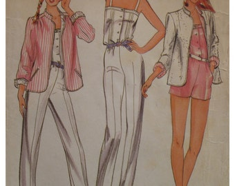 Womens Pin Up Romper Pattern, Jumpsuit, Straps, Button Front, Sewn Tucks, Jacket, Notched Collar, Butterick No. 3705/6460 Size 8 OR 12 OR 16