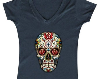 ON SALE - Sugar Skull Rose Eyes - Ladies' V-neck