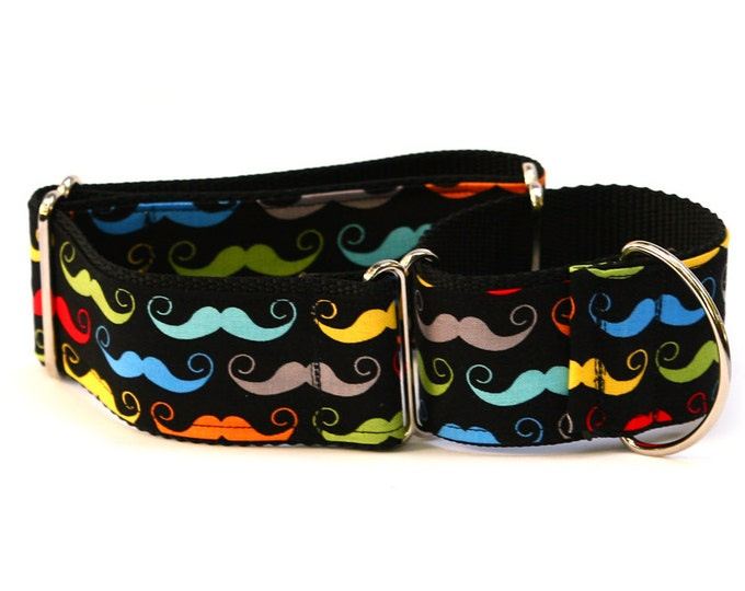 "Greyhound Dog Collar - Dapper Dog Bright Mustaches - 2"" Martingale Dog Collar"