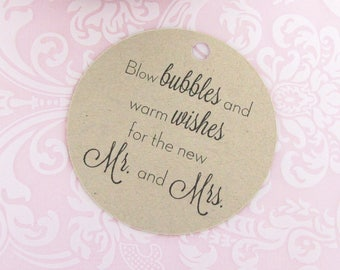 Wedding bubble tags (30) - Bubble tag - Kraft tag - Wedding gift tags - Wedding tag - Bubble label