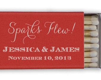 """Personalized """"Sparks Flew"""" Matches, Personalized Wedding Favors, Custom Wedding Matches, Sparkler Send Off Matches"""