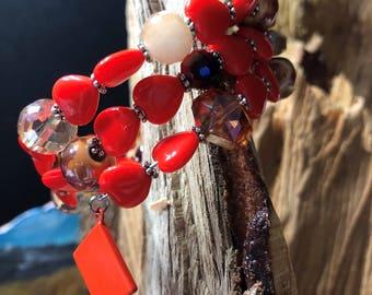 Bright Orange Heart Bracelet, Geometric Bracelet, Beaded Bracelet, Memory Wire Bracelet, Neon Bracelet, Gift for her