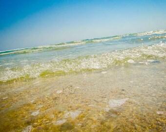 Clear Ocean Water and Wave Fine Art Print - Travel, Scenic, Landscape, Nature, Home Decor, Zen