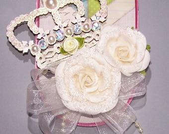 Doorknob Hanger, Crown, Tiara, Bedroom Decor, White Rose, Feminine Decor, Gifts for Her, Chevron, Colorful, Home Decor, Royalty, Princess