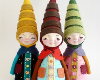 Gnome soft sculpture, elf art doll, collectable doll, fantasy doll