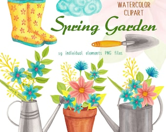 spring garden watercolor clipart, gardening and flowers handpainted graphics, floral clipart for commercial use by SLS Lines