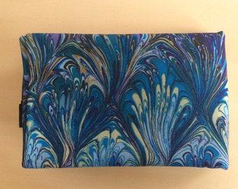 Blue Marbled Tarot Wrap - 100% cotton, tarot cloth, divination cloth