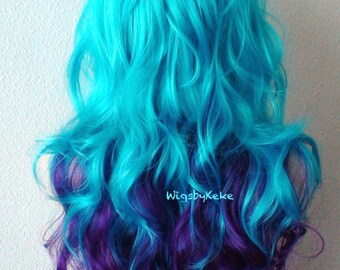 Ombre wig. Teal blue /Deep purple wig. Long curly hair long side bangs wig. Custom wig. Quality fashion wig for daytime use or Cosplay.