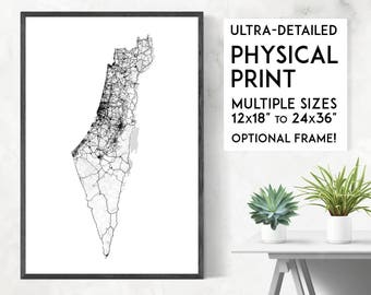 Roads of Israel map poster, Palestine print, Israel print, Israel map print, Israel poster, Israel wall art, Israel art print, Israel gift