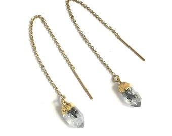 Threader Earrings, Crystal Drop Earrings, Gold Earrings, Gold Crystal Earrings, Dangling Earrings, Crystal Earrings, Raw Crystal Earrings