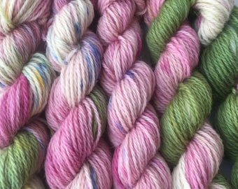 5 hand dyed mini skeins